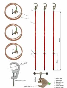Skratovacej súprava VVN 123 kV - pre priemer vodiča 70 - 100 mm   Typ 811.123-10
