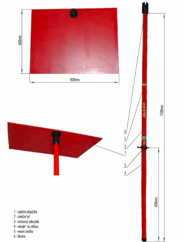 Manipulačné tyč s izolačnou prepážkou VN 38,5 kV | Typ 867.040