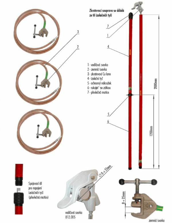 Skratovacej súprava VVN 245 kV - pre priemer vodiča 0 - 55 mm   Typ 812.245-10